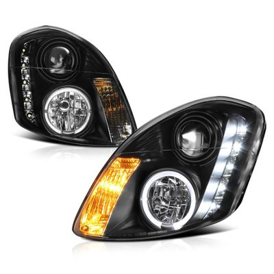 03-04 Infiniti G35 4DR (Non-HID) LED DRL Projector Headlights - Black