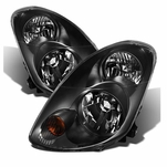 03-04 Infiniti G35 Sedan [Halogen Model] Crystal Replacement Headlights - Black
