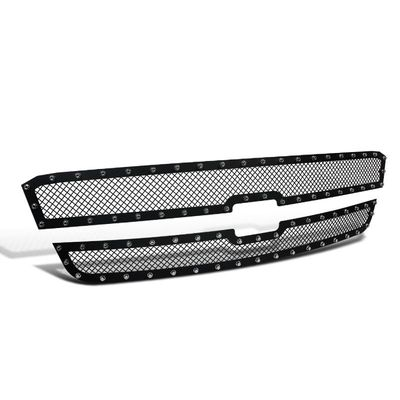 03-05 Chevy Silverado / 03-06 Avalanche Upper Hood Grille Insert x2 Rivet Style Black