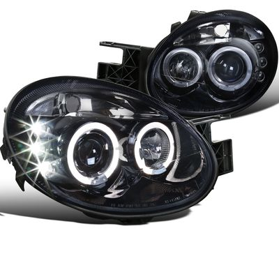 03-05 Dodge Neon / SRT4 Angel Eye Halo / LED DRL Projector Headlights - Glossy Black