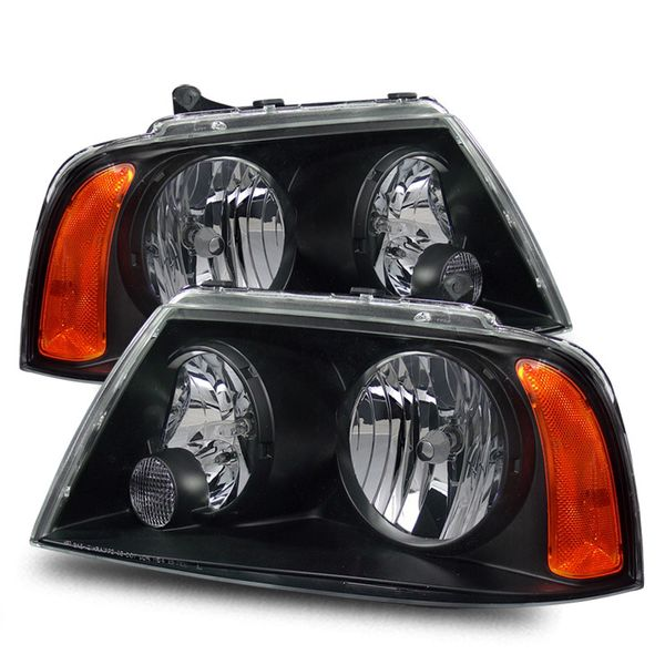 03-05 Lincoln Navigator Euro Style Crystal Headlights - Black Housing