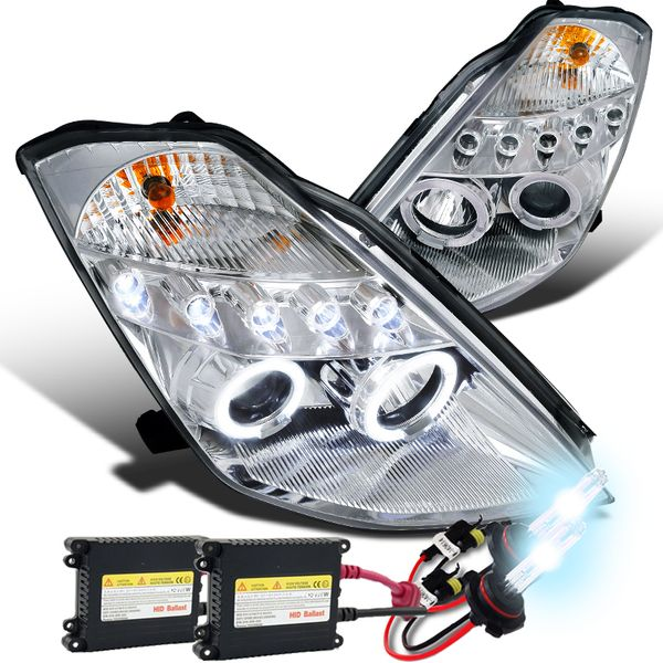 HID Xenon + 03-05 Nissan 350Z  (Halogen Model) Angel Eye Halo & LED DRL Projector Headlights - Chrome