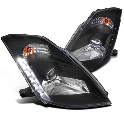 03-05 Nissan 350Z [HID Model] LED DRL Projector Headlights - Black