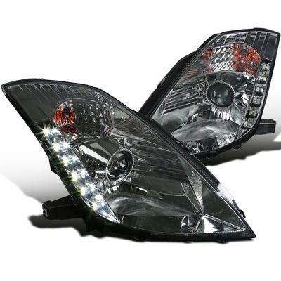03-05 Nissan 350Z [HID Model] LED DRL Projector Headlights - Smoked