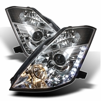 03-05 Nissan 350Z (HID Model) Z33 Euro Style LED DRL Projector Headlights - Chrome
