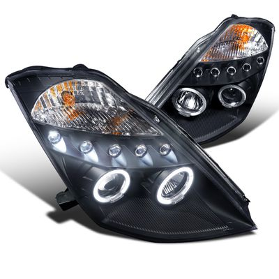03-05 Nissan 350Z Non-HID Model Dual Halo & LED Projector Headlights - Black