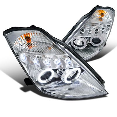03-05 Nissan 350Z Non-HID Model Dual Halo & LED Projector Headlights - Chrome