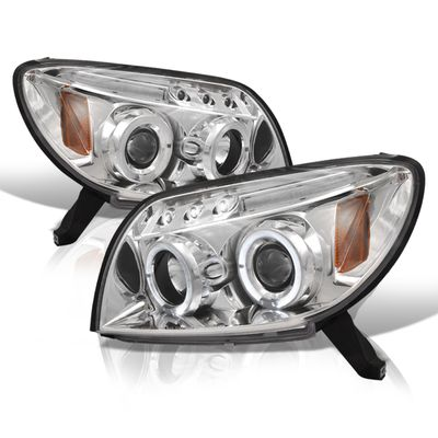 03-05 Toyota 4Runner Angel Eye Halo LED Projector Headlights - Chrome
