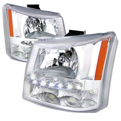 03-06 Chevy Silverado 1PC Style LED DRL Crystal Headlights - Chrome