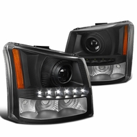 03-06 Chevy Silverado 1PC Style LED DRL Projector Headlights - Black