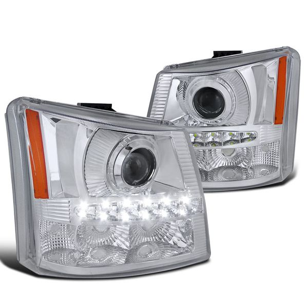 03-06 Chevy Silverado 1PC Style LED DRL Projector Headlights - Chrome