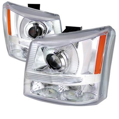 03-06 Chevy Silverado 1PC Style Projector Headlights - Chrome
