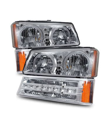 03-06 Chevy Silverado Angel Eye Halo Crystal Headlights + LED Bumper Lights - Chrome