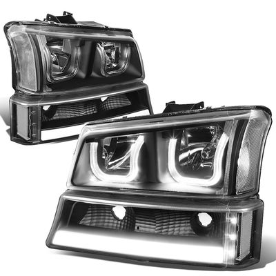 03-06 Chevy Silverado / Avalanche LED DRL Halo 4pcs Headlights Set - Black / Clear