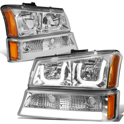 03-06 Chevy Silverado / Avalanche LED DRL Halo 4pcs Headlights Set - Chrome / Amber