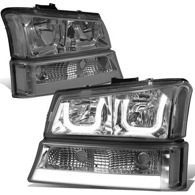 03-06 Chevy Silverado / Avalanche LED DRL Halo 4pcs Headlights Set - Smoked / Clear