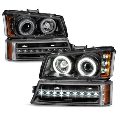 03-06 Chevy Silverado / Avalanche LED Halo Projector Headlights + LED Bumper - Black