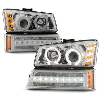 03-06 Chevy Silverado / Avalanche LED Halo Projector Headlights + LED Bumper - Chrome