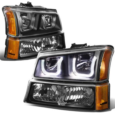 03-06 Chevy Silverado/Avalanche LED U-Halo Headlight + Bumper Light - Black Amber