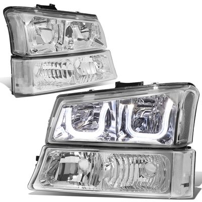 03-06 Chevy Silverado/Avalanche LED U-Halo Headlight + Bumper Light - Chrome Clear
