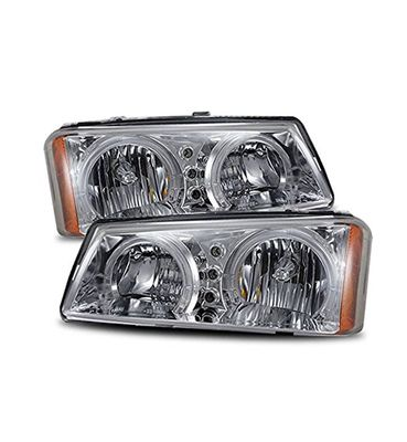 03-06 Chevy Silverado  / Avalnache  Angel Eye Halo Crystal Headlights - Chrome