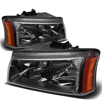 03-06 Chevy Silverado / Chevy Avalanche [W/O Body Cladding] Replace Headlights - Black Amber