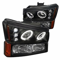 03-06 Chevy Silverado Dual Halo & LED Projector Headlights With Bumper Lens - Black Housing