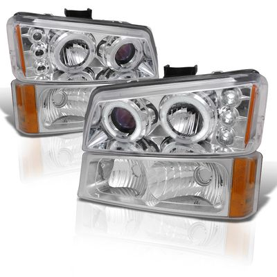 03-06 Chevy Silverado Dual Halo & LED Projector Headlights With Bumper Lens - Chrome