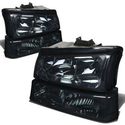 03-06 Chevy Silverado / Avalanche Euro Style Crystal Headlights - Smoked