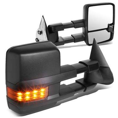 03-06 Chevy Silverado / GMC Sierra Black Textured Telescoping Manual Extendable + Amber Signal Side Towing Mirrors