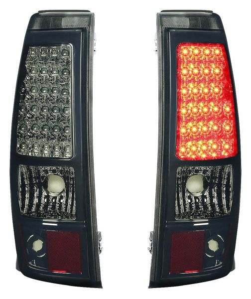 03-06 Chevy Silverado/GMC Sierra Fleetside Pair of LED Tail Brake Lights (Chrome Housing Smoked Lens)