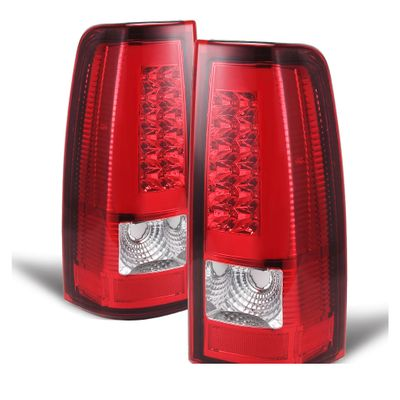 03-06 Chevy Silverado / GMC Sierra LED Tube Tail Lights - Red Clear