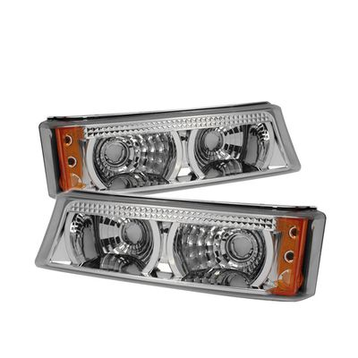 03-06 Chevy Silverado Pickup Truck Bumper Lights - Chrome Amber