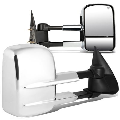 03-06 Chevy Silverado/Sierra Pair of Chrome Powered + Heated Glass + Manual Extenable Side Towing Mirrors