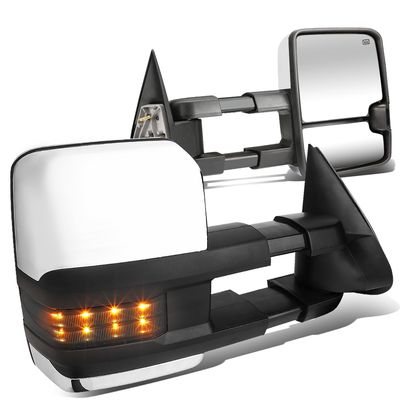03-06 Chevy Tahoe/GMC Yukon Powered+Heated+Smoked Chrome LED Turn Signal Towing Side Mirror Pair