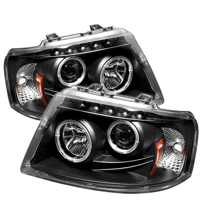 03-06 Ford Expedition Dual Halo & LED DRL Projector Headlights - Black
