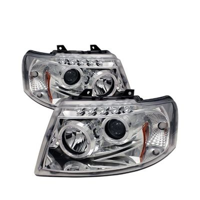03-06 Ford Expedition Dual Halo & LED DRL Projector Headlights - Chrome