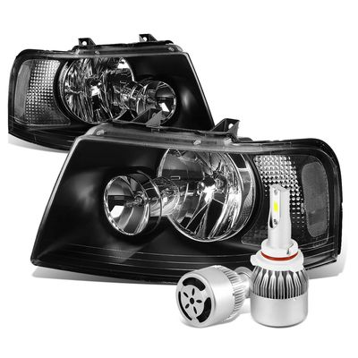 03-06 Ford Expedition OE Style Black Housing Clear Corner Headlight+6000K White LED w/ Fan