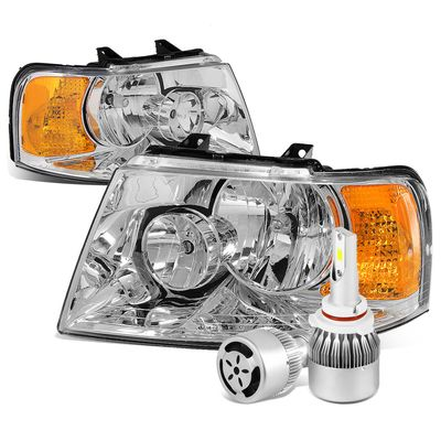 03-06 Ford Expedition OE Style Chrome Housing Amber Corner Headlight+6000K White LED w/ Fan