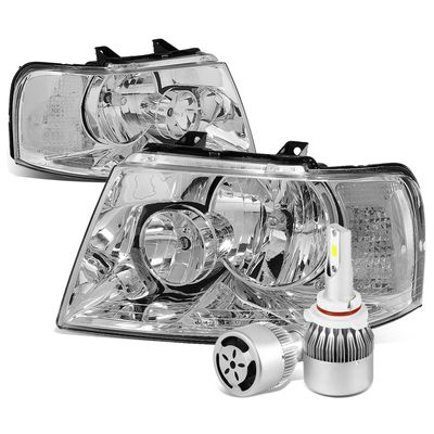 03-06 Ford Expedition OE Style Chrome Housing Clear Corner Headlight+6000K White LED w/ Fan