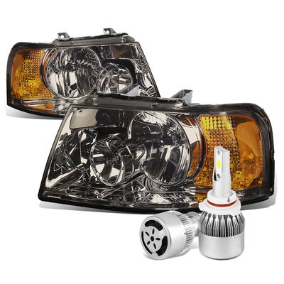 03-06 Ford Expedition OE Style Smoke Lens Amber Corner Headlight+6000K White LED w/ Fan