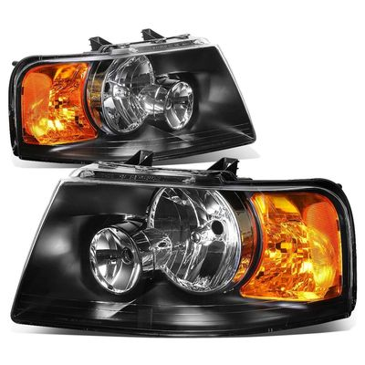 03-06 Ford Expedition Replacement Set Headlights - Black