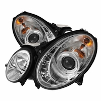 03-06 Mercedes Benz E-Class W211 Euro DRL LED Projector Headlights - Chrome