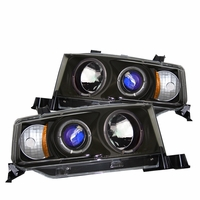03-06 Scion xB JDM Dual Angel Eye Halo & LED Projector Headlights - Black