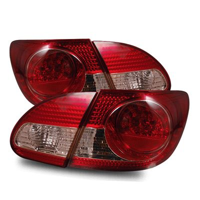 03-06 Toyota Corolla Euro Style LED Tail Lights - Red / Clear