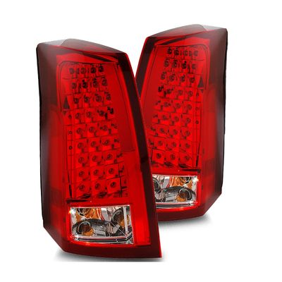 03-07 Cadillac CTS Euro Style LED Tail Lights - Red / Clear (03-CCT03TLED3)