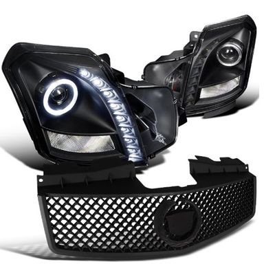 03-07 Cadillac CTS LED DRL Projector Headlights + Mesh Grill - Black
