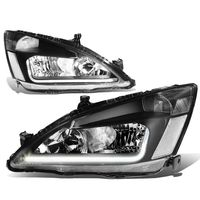 03-07 Honda Accord LED DRL Strip Crystal Headlights - Black Clear