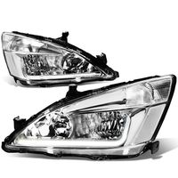 03-07 Honda Accord LED DRL Strip Crystal Headlights - Chrome Clear