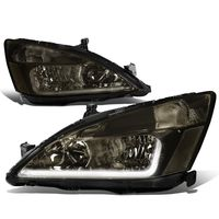 03-07 Honda Accord LED DRL Strip Crystal Headlights - Smoked Clear